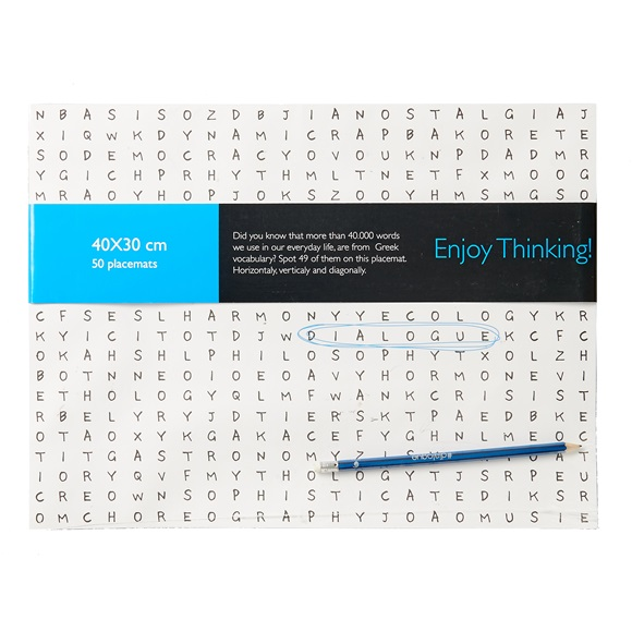 Set of 50 PAPER PLACEMATS WITH PENSIL