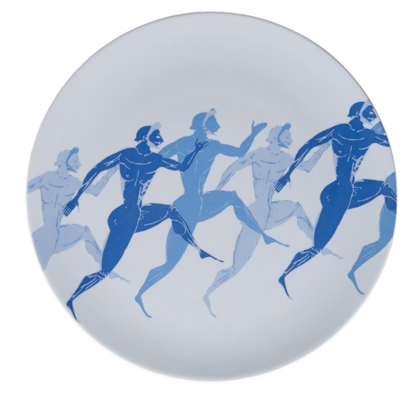 Olympic Runners Dinner Plate Zoomed In