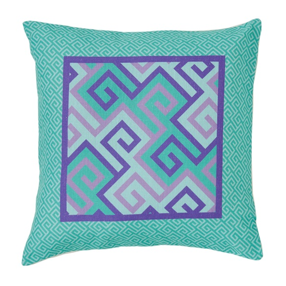 Green & Purple Geometric Motif Μαξιλαροθήκη