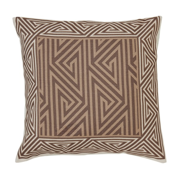 Brown Geometric Motif Cushion Cover