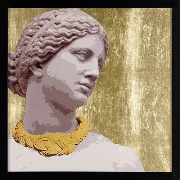 Gold Necklace Wall Art in frame