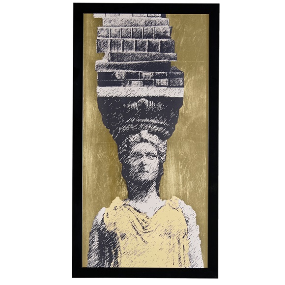 Gold Caryatid Wall Art  in frame