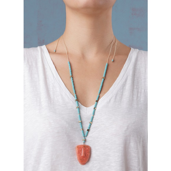Cycladic Face Salmon Necklace