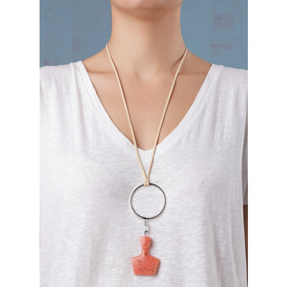 Cycladic Male Ring Salmon Necklace