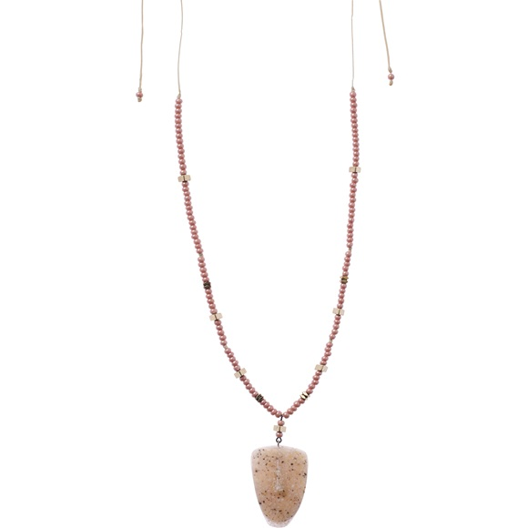 Cycladic Face Beige Beaded Necklace