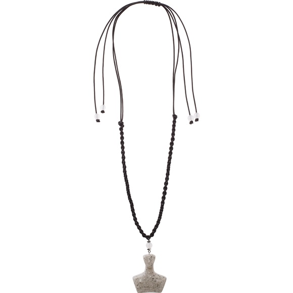 Cycladic Female Grey Makrame Necklace