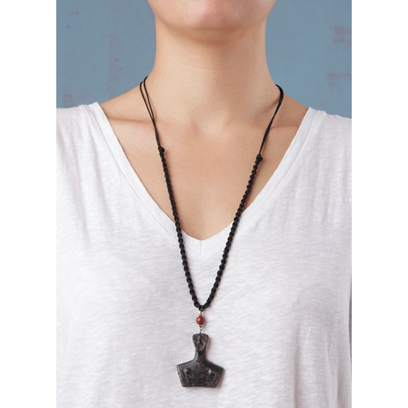 Cycladic Female Brown Macrame Necklace