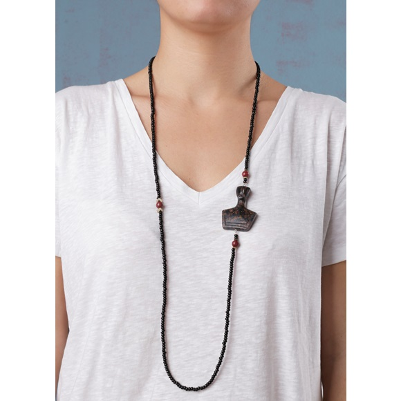 Cycladic Male Long Brown Necklace