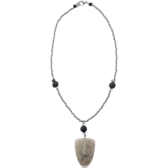 Cycladic Face Grey Short Necklace