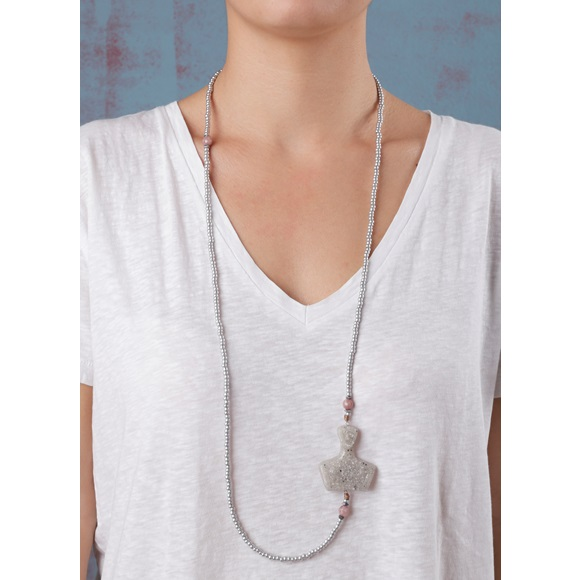 Cycladic Female Long Grey Necklace