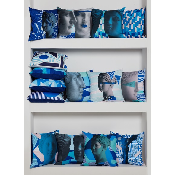 Cushion cover Artemis splash blue